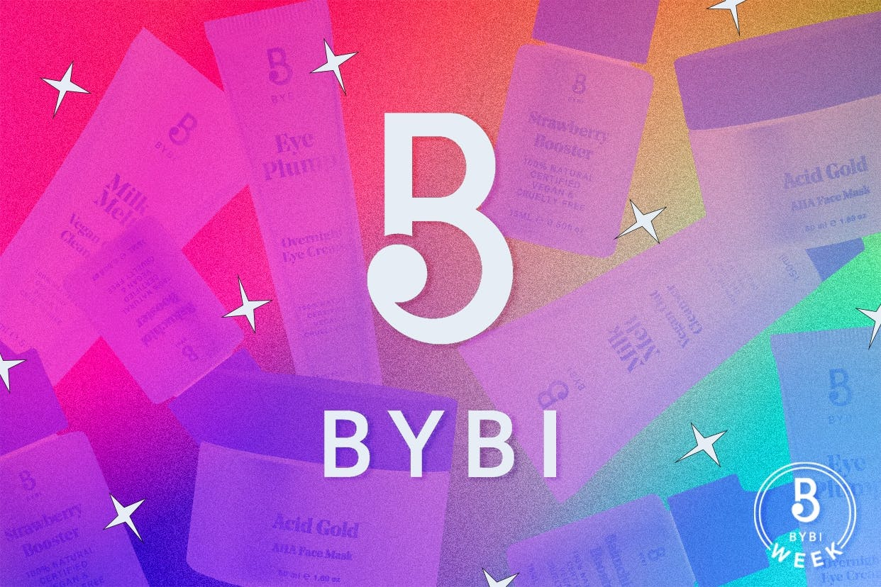BYBI products under a rainbow overlay