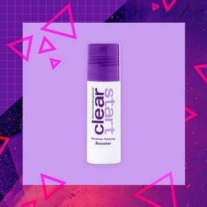 Dermalogica Clear Start Breakout Clearing Booster on a purple geometric background