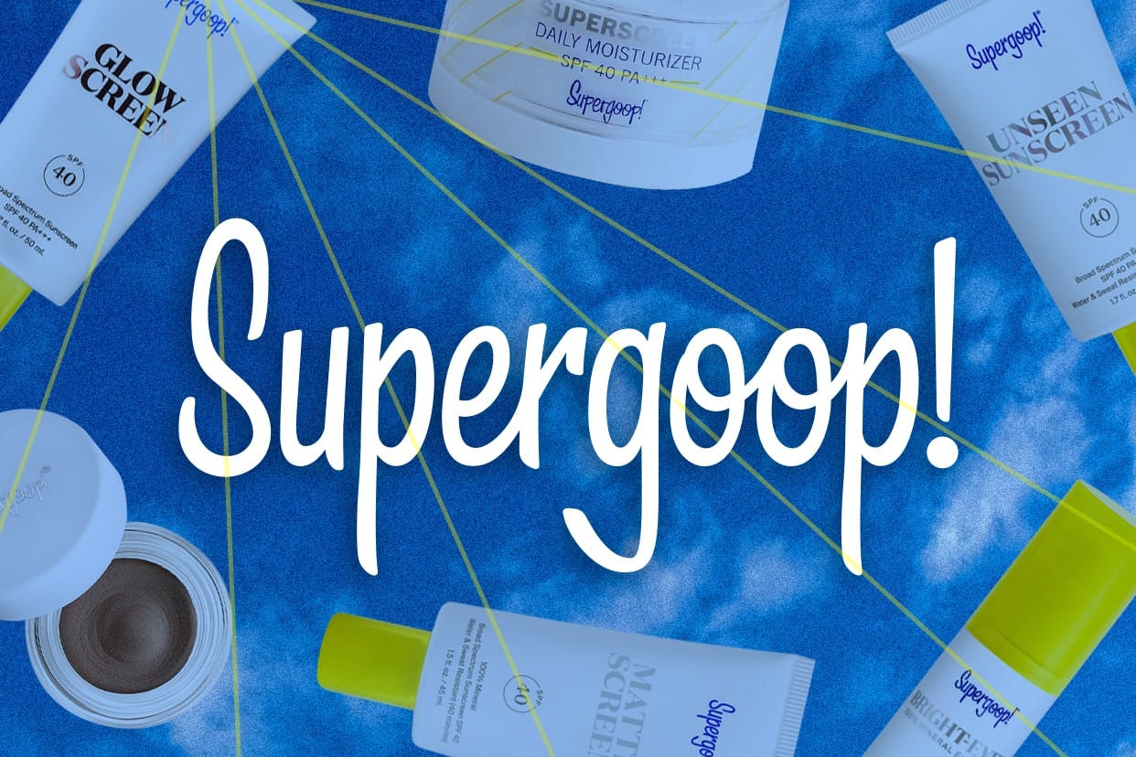 Supergoop! products on a blue background