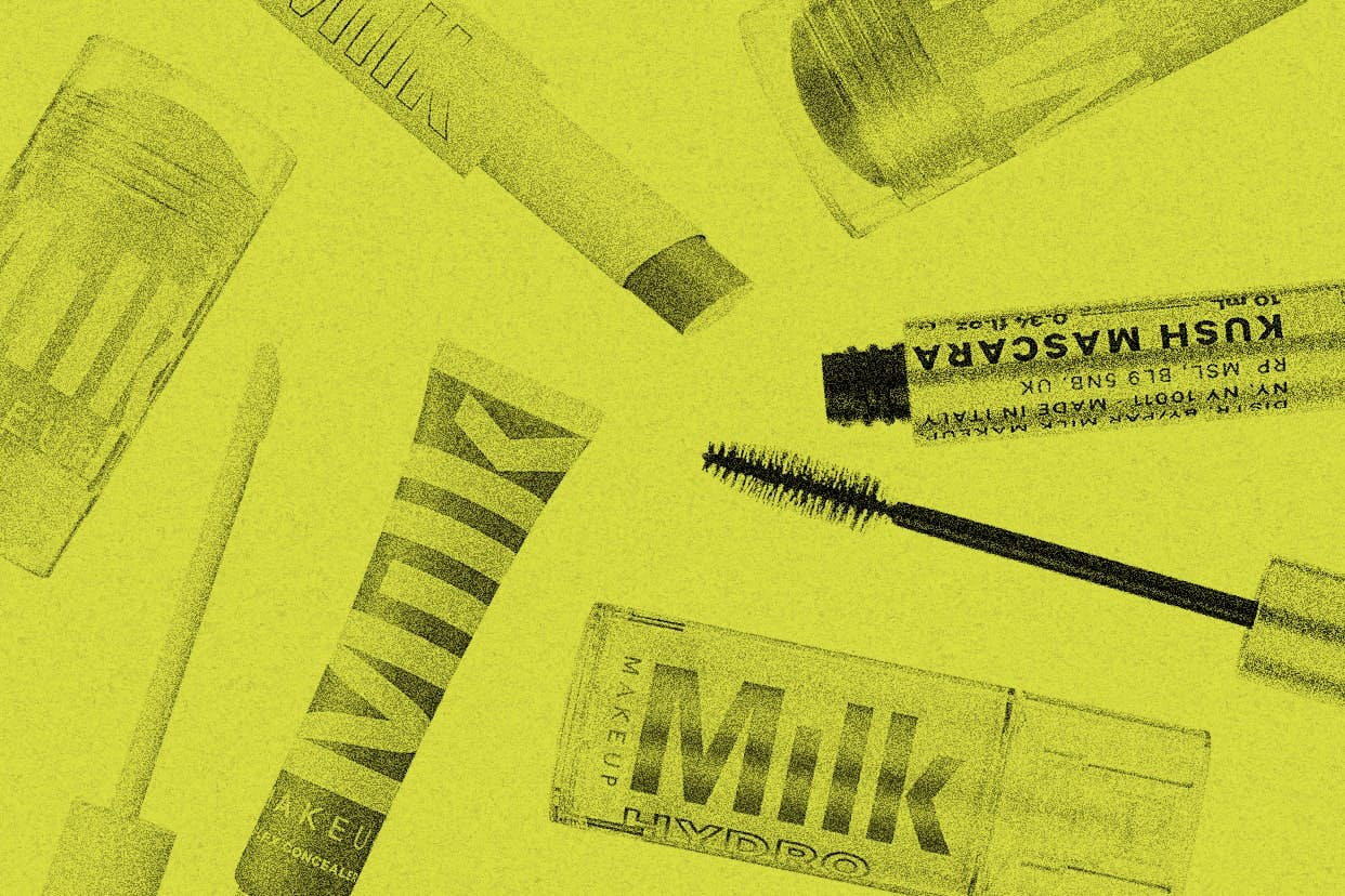 Milk Makeup products on an acid yellow background