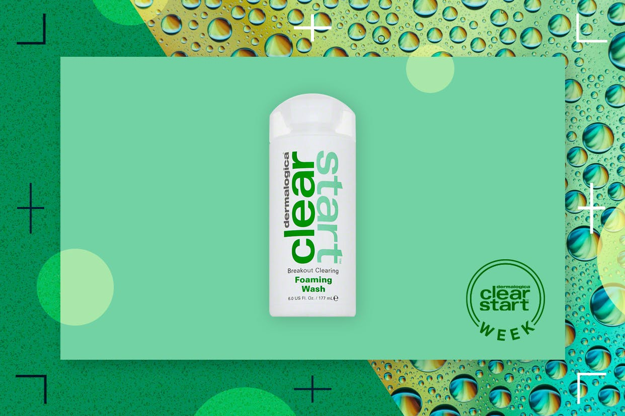 Dermalogica's Clear Start Foaming Wash on a green background