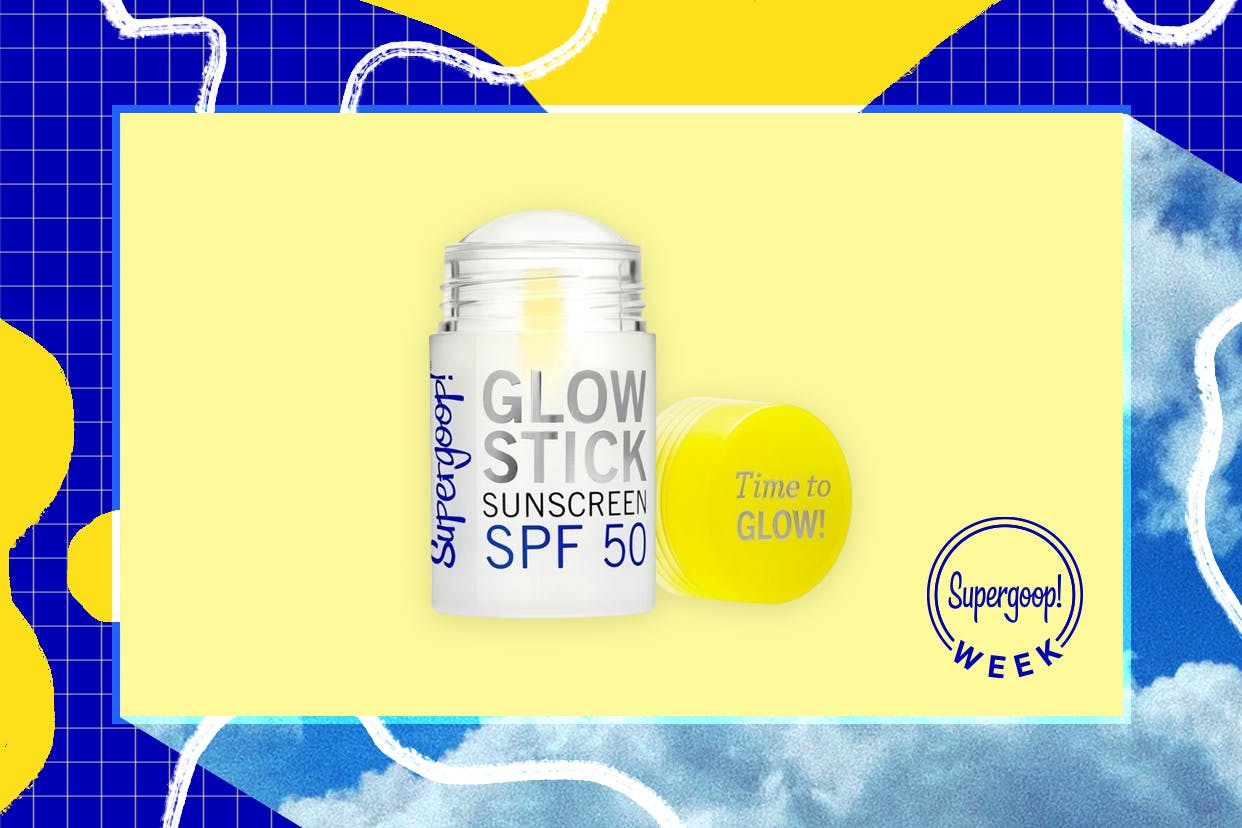 Supergoop glow stick sunscreen on a sunny background