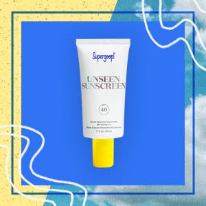 supergoop's unseen sunscreen on a sunny background