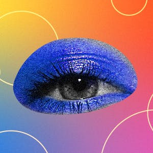 An eye wearing eyeshadow with the words Supergreat Academy