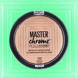 Maybelline's Master Chrome Highlight on a teal background