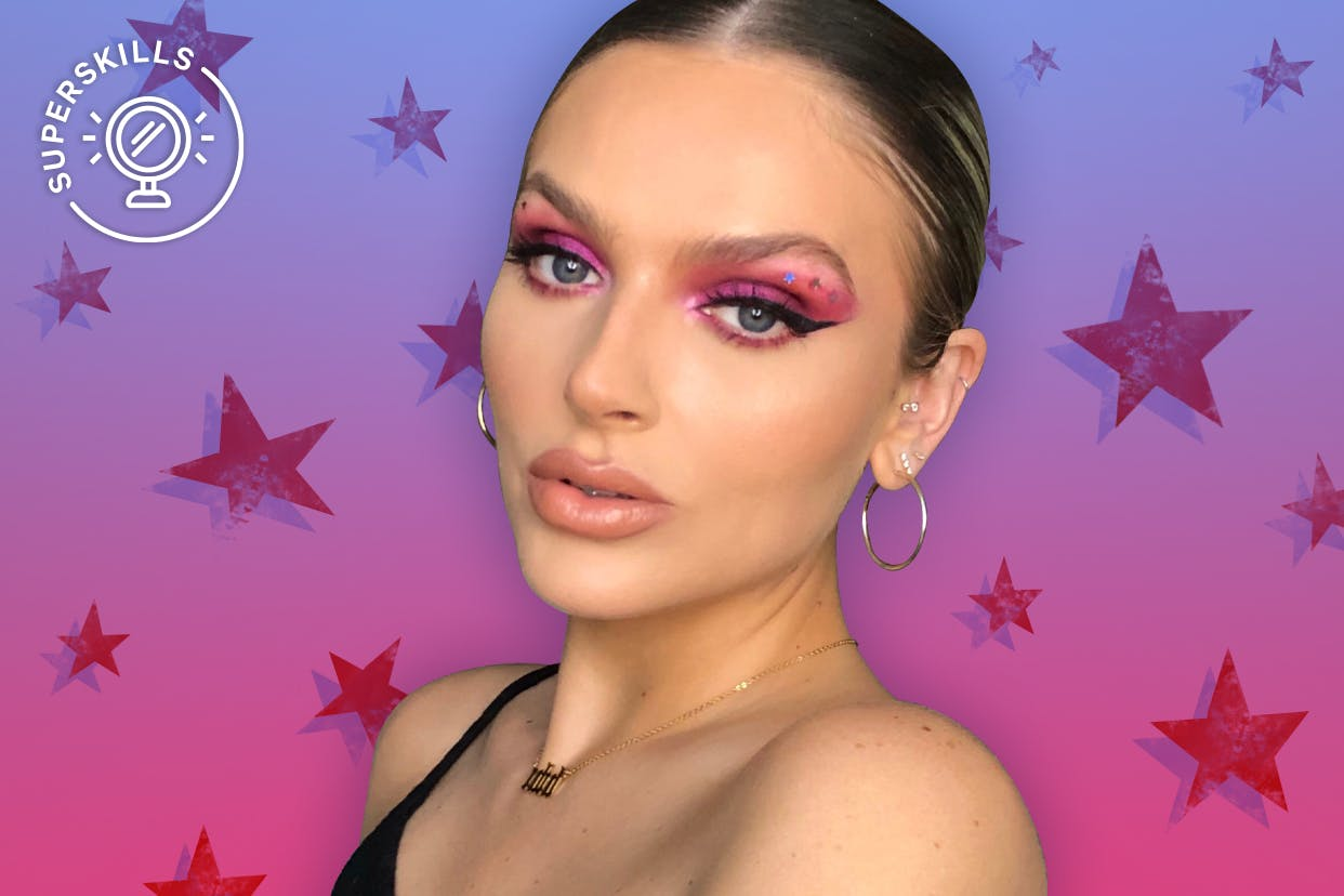 Makeup artist Landyn Harrison in a hot pink glitter eye look
