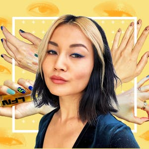 A portrait of beauty writer Sable Yong on a yellow background surrounded by cutouts of her hands and eyes