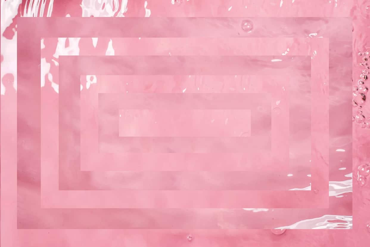 pink liquid and rectangular overlay
