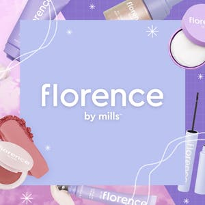 Florence by Mills logo and beauty products