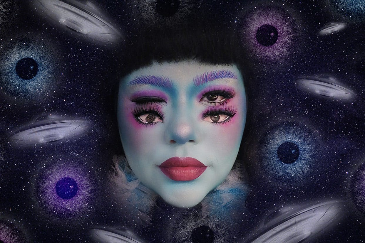 Alien makeup tutorial on a space background