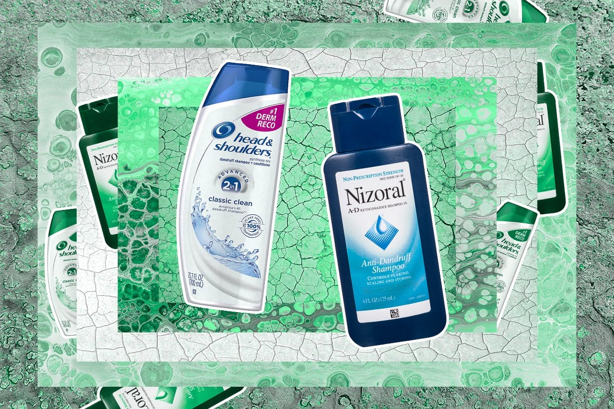 Dandruff shampoos on a sudsy background
