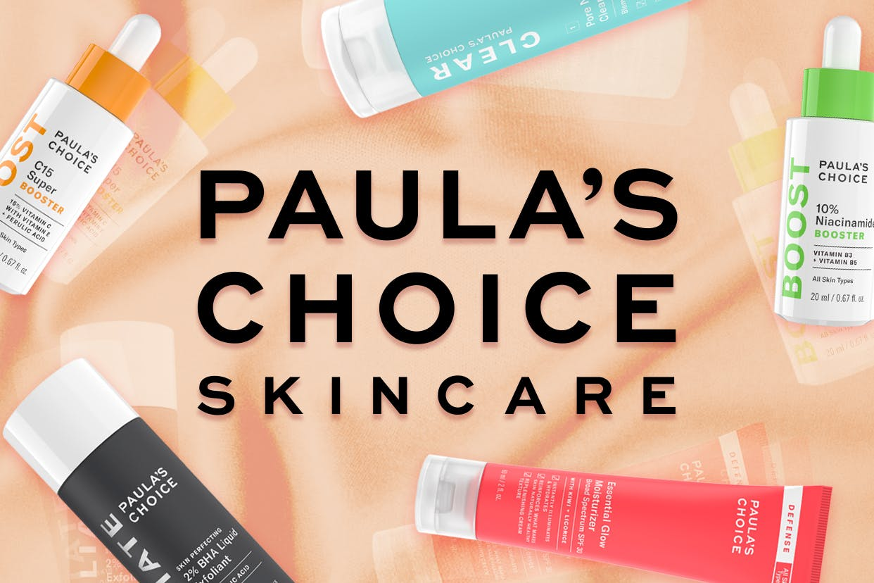 Paula's Choice skincare logo surrounded by products