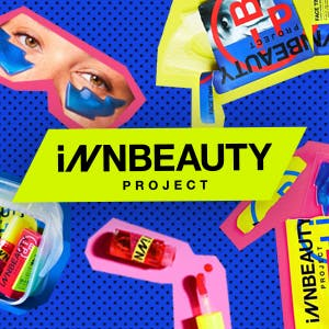 iNNBeauty products on a blue background