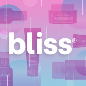 Bliss logo over Bliss products
