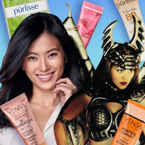 Jennifer Yen, Founder of beauty brands Purlisse and Yensa, surrounded by her products and an image of her in her role as Vypra in Power Rangers Lightspeed Rescue