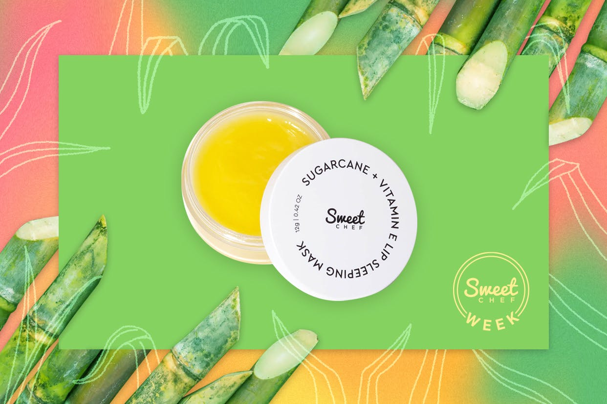 Sweet Chef lip sleeping mask surrounded by superfoods