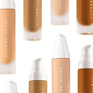 Bottles of Fenty Beauty Pro Filt'r Foundation ranging from light to dark shades