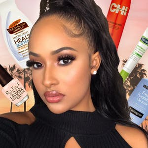 Kennedy Cymone surrounded by her favorite beauty products