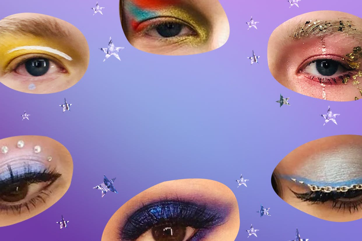 Cutouts of eyes from the characters of HBO's Euphoria that show the makeup looks featured on the show on a purple background