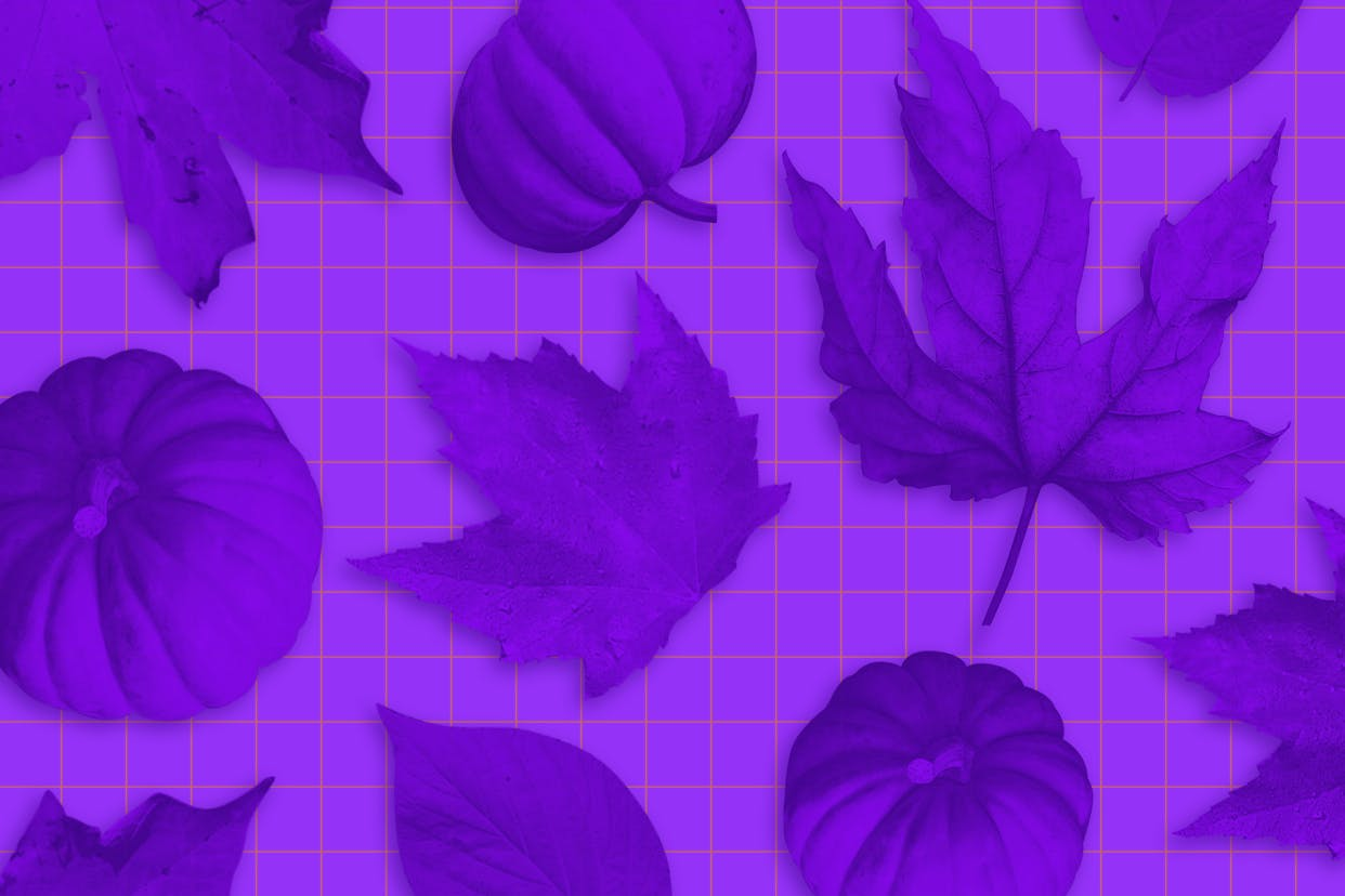 Purple leaves and pumpkins