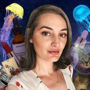 Supergreat Community Manager Eliza Cato on a starry night sky background surrounded by her cat Sweet Potato, Sunday Riley Luna Oil, and Maelove Glow Maker