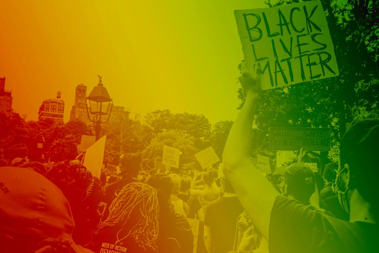 Images of a Black Lives Matter protest on a rainbow background