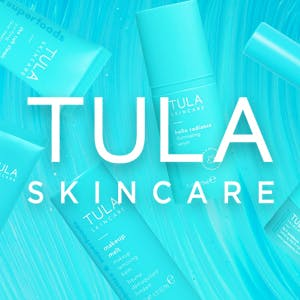 Tula Skincare logo surrounded by the brands products