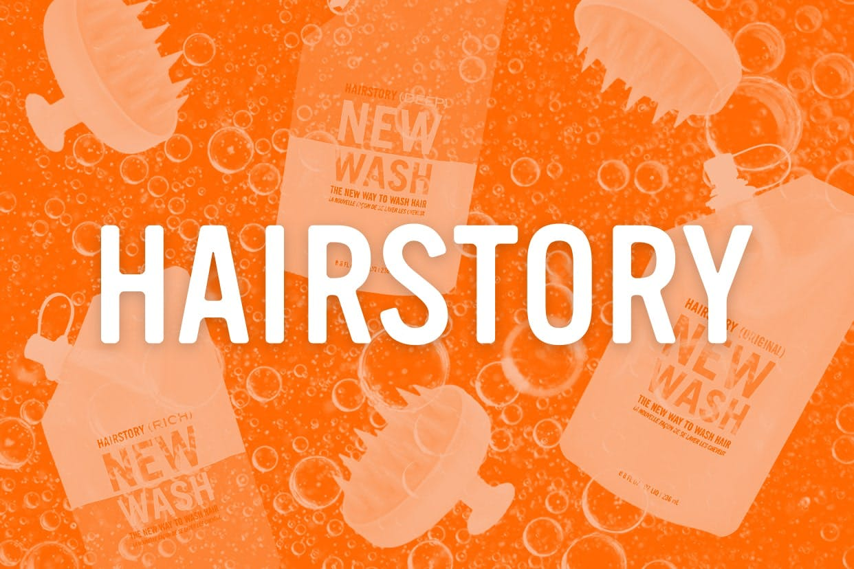 Hairstory products on an orange background