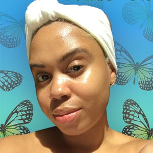 Esthetician Lakeisha Dale after an at-home facial