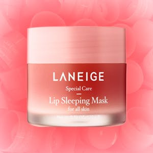 LANEIGE lip sleeping mask on a pink background