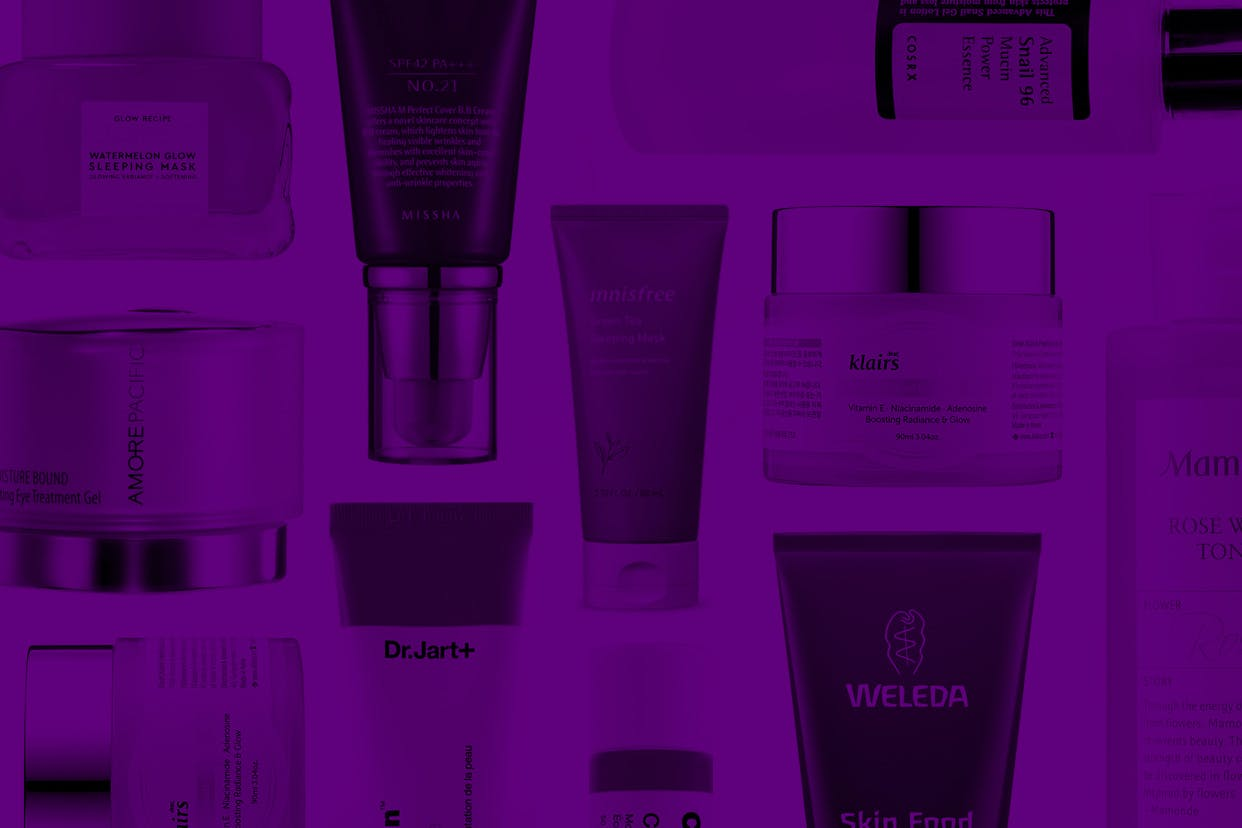 K-beauty products on a purple background