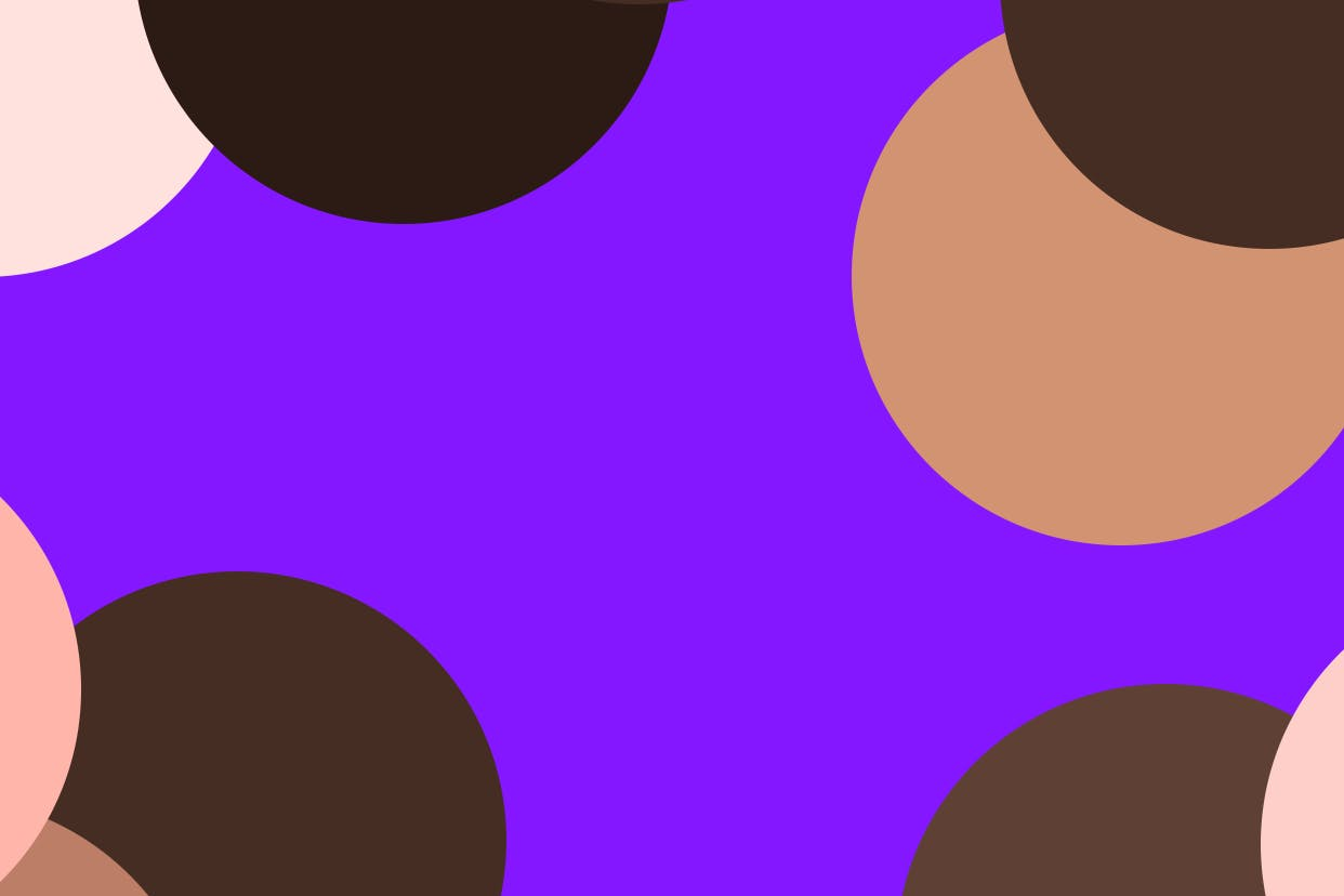Spots of different shades representing different skin tones on a purple background