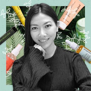 Cocokind founder Priscilla Tsai surrounded by her products