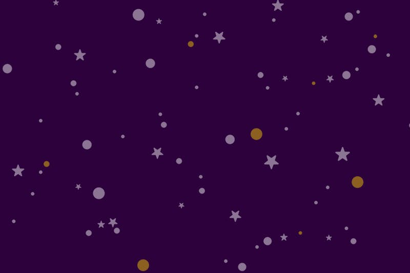 Stars and polka dots on a dark purple background