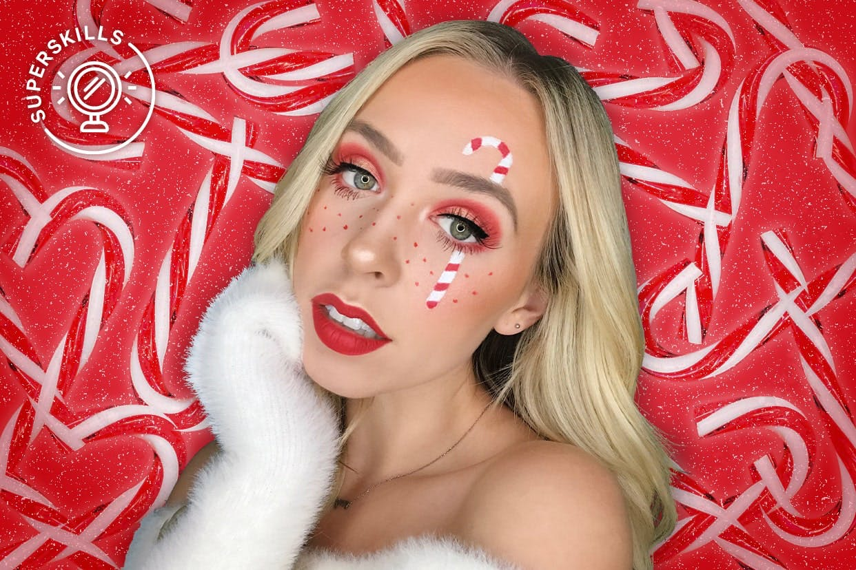 Makeup artist ember Johnson in Holiday makeup