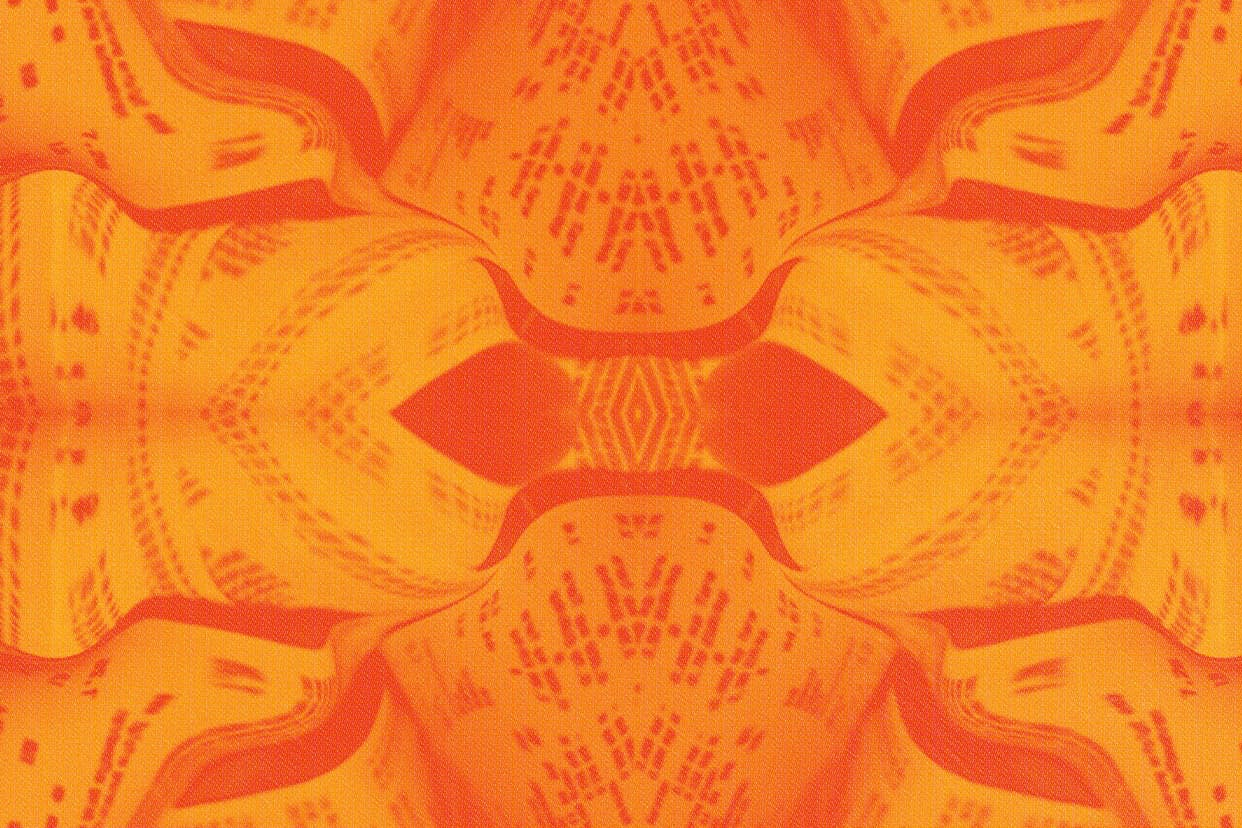 Reflective graphics on an orange background