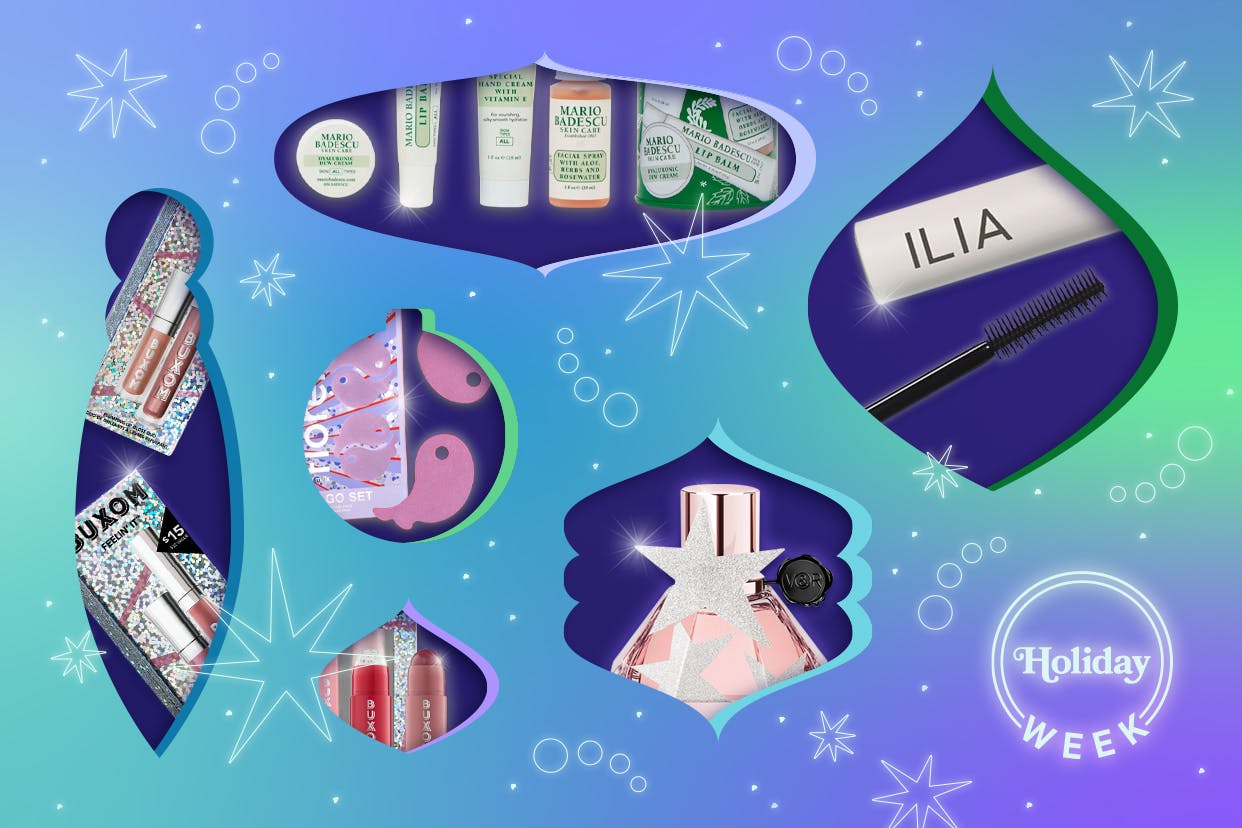 Holiday themed beauty products on a blue background
